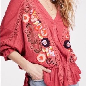Free People Tops - Free People Serafina Boho Embroidered Blouse